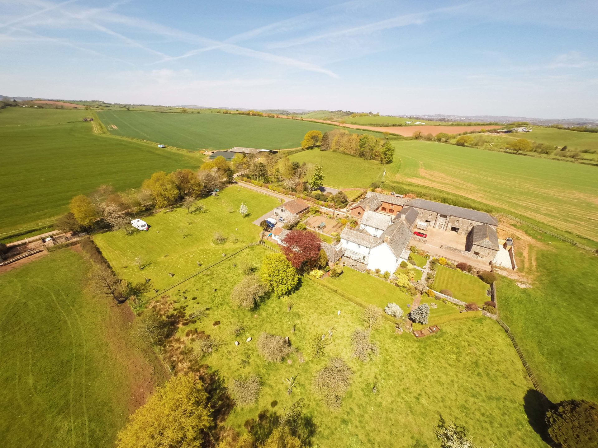 Drone Shot of Exe Valley Lamb farm